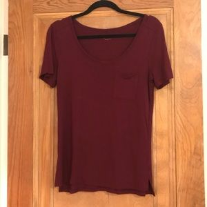 LOFT Red Maroon Scoop Neck Short Sleeve Tee Shirt